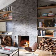 Room, Wood, Interior design, Brown, Living room, Property, Wall, Hearth, Home, Table,