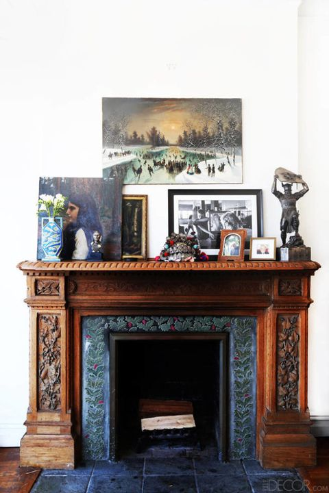 Floor, Hearth, Picture frame, Fireplace, Gas, Wood stain, Collection, Building material, Marble, Artifact,