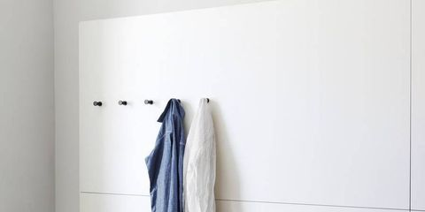 Room, Clothes hanger, Towel, Shelving, Household supply,