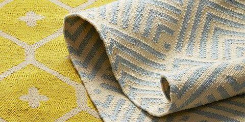 Yellow, Pattern, Textile, Flooring, Beige, Tan, Linens, Pattern, Stitch, Woven fabric,