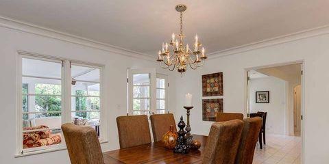 Wood, Room, Interior design, Floor, Hardwood, Table, Ceiling, Light fixture, Flooring, Ceiling fixture,