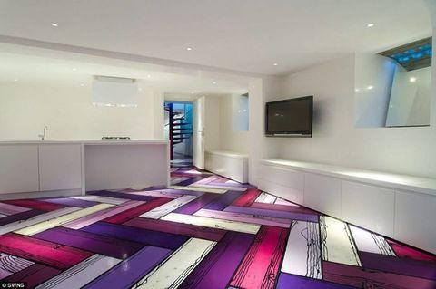 Interior design, Room, Floor, Flooring, Ceiling, Purple, Wall, Magenta, Violet, Colorfulness,