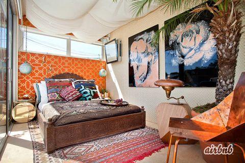 Lighting, Room, Interior design, Bed, Textile, Floor, Furniture, Bedroom, Wall, Bedding,