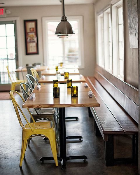 Wood, Yellow, Room, Table, Furniture, Floor, Glass, Hardwood, Interior design, Light fixture,