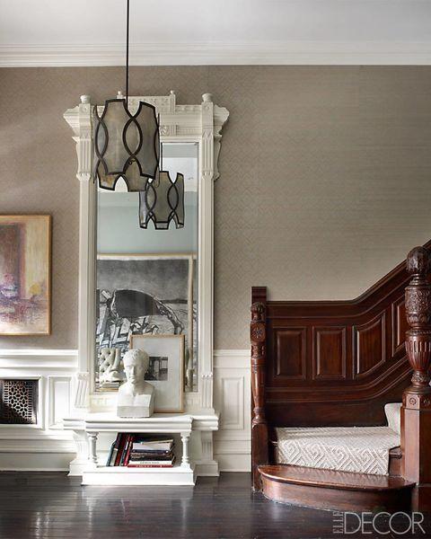Wood, Room, Interior design, Wall, Floor, Home, Flooring, Interior design, Molding, Grey,