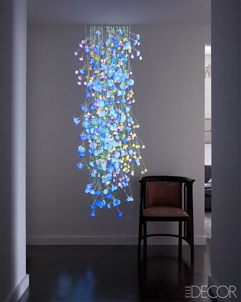 Interior design, Floor, Flooring, Majorelle blue, Chair, Cobalt blue, Interior design, Electric blue, Design, Light fixture,