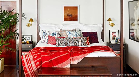 Bed, Room, Interior design, Bedding, Textile, Bedroom, Bed sheet, Red, Linens, Furniture,
