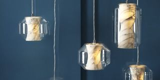 Blue, Product, Photograph, Liquid, Still life photography, Lighting accessory, Light fixture, Cylinder, Metal, Silver,