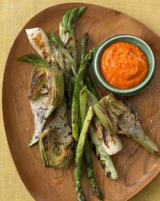 Joyce Goldstein's Grilled Green Onions, Artichokes and Asparagus with Salsa Romesco