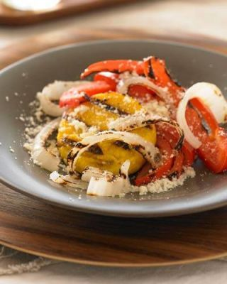 Diane Morgan's Grilled Polenta with Sweet Red Peppers and Onion Wedges
