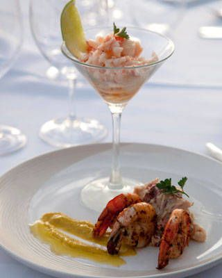 Judge Johnny Vinczencz's Butter Poached Lobster with Spicy Shrimp Potato Salad and Mango Cocktail Sa