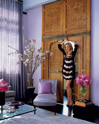 Model Jessica Stam In The Living Area Of Her Manhattan Apartment Decorated By Rafael De Cárdenas Moroccan Doors Are Remnants A Previous Owner S
