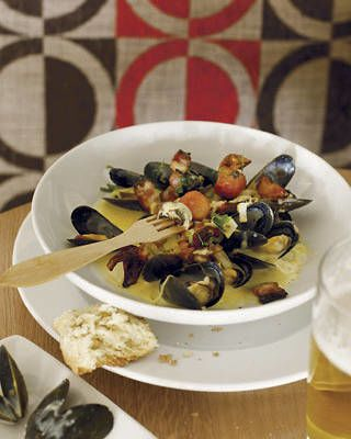 Mussels Steamed in Verjus with Maple-Smoked Bacon and Sweet 100 Tomatoes