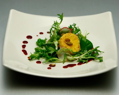 Laurine Wickett's Crusted Goat Cheese Salad with Orange Jalapeño Vinaigrette and Hibiscus Flo