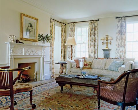 In The East Facing Side Of The Double Living Room, A Sofa Custom Made By Michael  S. Smith, An Antique Neoclassical Mantel, And Curtains Of Bentley Rose By  ...