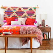 Wood, Room, Bed, Interior design, Bedding, Textile, Bedroom, Furniture, Floor, Linens,
