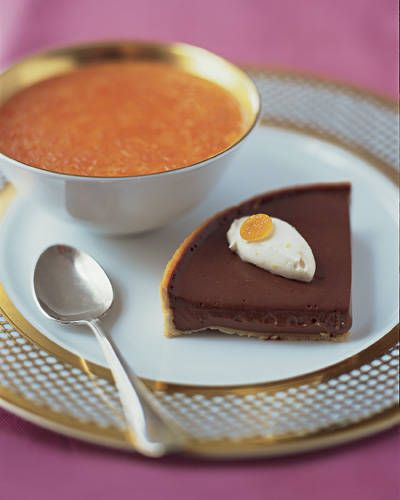Creamy Chocolate Tart with Grapefruit-Lavender Honey Soup