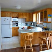 Wood, Room, Property, Interior design, Furniture, Plumbing fixture, Kitchen sink, Floor, Cupboard, Kitchen appliance,
