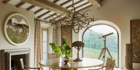 Room, Interior design, Property, Furniture, Dining room, Green, Ceiling, Building, Table, Architecture,