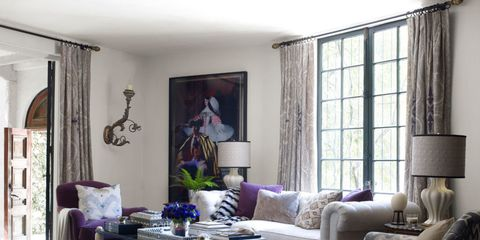 Blue, Interior design, Room, Living room, Table, Furniture, Floor, Couch, Purple, Wall,