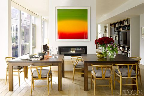 Room, Yellow, Interior design, Table, Furniture, Floor, Interior design, Fixture, Ceiling, Picture frame,