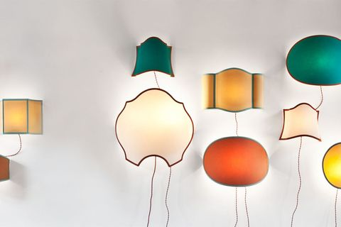Lighting, Lighting accessory, Colorfulness, Wall, Orange, Amber, Lampshade, Tints and shades, Art, Teal,