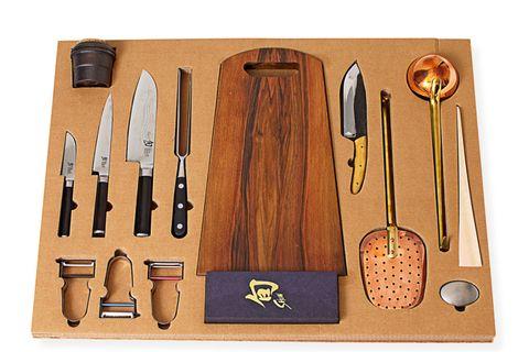 Cutlery, Kitchen utensil, Tan, Knife, Kitchen knife, Steel,