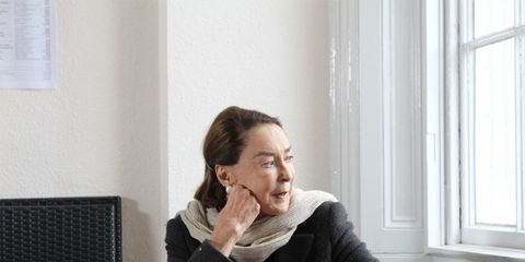 Sitting, Comfort, Interior design, Fixture, Blazer, Daylighting, Thinking, Window covering, Window treatment, Portrait,