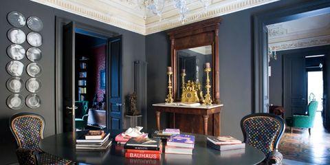 Interior design, Room, Floor, Flooring, Furniture, Table, Ceiling, Interior design, Chair, Hall,
