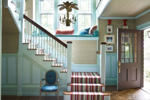 Wood, Blue, Stairs, Green, Interior design, Room, Property, Floor, Hardwood, Real estate,