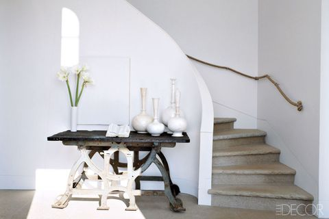 Stairs, Room, White, Interior design, Table, Floor, Wall, Handrail, Design, Paint,