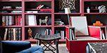 Blue, Wood, Room, Property, Interior design, Shelf, Furniture, Red, Table, Shelving,