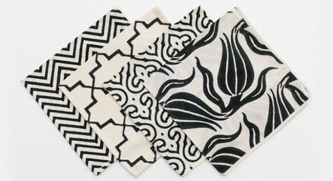 Blockprint napkins in Chelsea, Chevron, Brooke, and Ivy designs by Madeline Weinrib