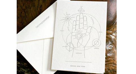 Sending Good Vibes letterpress card by Thunderwing Press