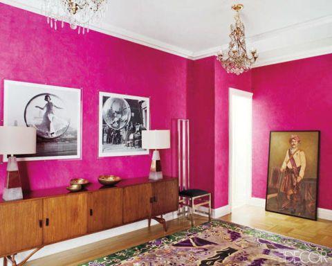 Room, Interior design, Wall, Interior design, Picture frame, Purple, Ceiling, Magenta, Chandelier, Light fixture,