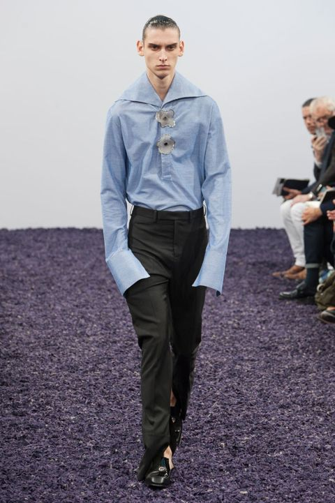 Footwear, Dress shirt, Collar, Sleeve, Trousers, Shirt, Standing, Style, Formal wear, Suit trousers,