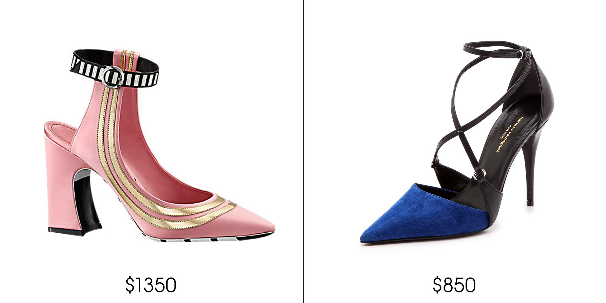 "Louis Vuitton Ray of Sun Pump, $1,350; <a href=""http://us.louisvuitton.com/eng-us/products/ray-of-sun-pump-009009"" target=""_blank"">louisvuitton.com</a>    Narciso Rodriguez Ava Strappy Pumps, $850; <a href=""http://www.shopbop.com/ava-strappy-pump-narciso-rodriguez/vp/v=1/1584901110.htm?folderID=34106&fm=other-shopbysize-viewall&colorId=37894"" target=""_blank"">shopbop.com</a>"
