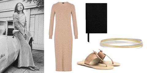 Brown, Sleeve, Standing, Fashion, Tan, Beige, Sandal, Costume design, Fashion design, Suit trousers,