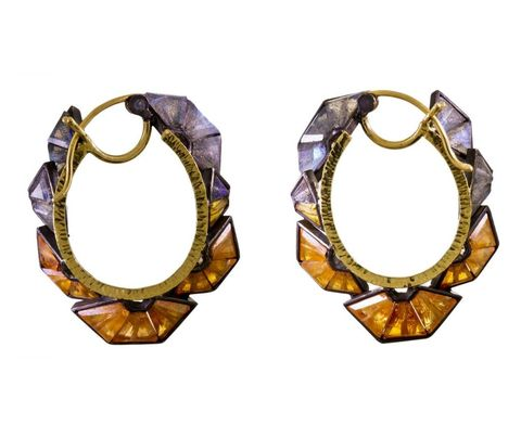"Nak Armstrong Mosaic Ruffle Hoop Earrings, $2,860; <a href=""http://www.twistonline.com/designers-nak-armstrong-earrings/mosaic-ruffle-hoop-earrings"">twistonline.com</a>"