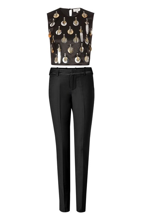 "Isa Arfen Embellished Crop Top, $602; <a href=""http://bysymphony.com/isa-arfen-embellished-crop-top-30575"" target=""_blank"">bysymphony.com</a>  Zadig & Voltaire Prune Deluxe Tuxedo Pants, $380; <a href=""http://www.stylebop.com/product_details.php?id=564793&tmad=c&tmcampid=16&tmclickref=Hy3bqNL2jtQ&campaign=affiliate/linkshare/usa/&utm_source=affiliate&utm_medium=linkshare&utm_campaign=adsus&siteID=Hy3bqNL2jtQ-oe9ROK62U.uR.0yULA3WaA"" target=""_blank"">stylebop.com</a>"