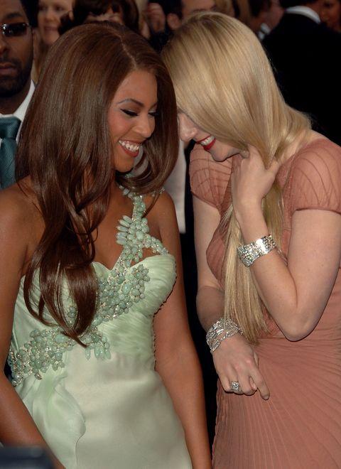 Finger, Facial expression, Fashion accessory, Wrist, Dress, Fashion, Strapless dress, Friendship, Blond, Bracelet,