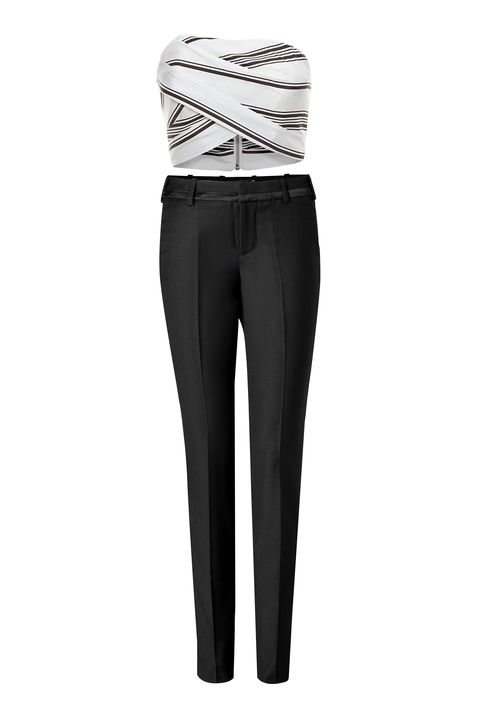 """Cameo Striped Strapless Crop Top, $128; <a href=""""http://www.intermixonline.com/product/cameo+striped+strapless+crop+top.do"""" target=""""_blank"""">intermixonline.com</a>  Zadig &amp; Voltaire Prune Deluxe Tuxedo Pants, $380; <a href=""""http://www.stylebop.com/product_details.php?id=564793&amp;tmad=c&amp;tmcampid=16&amp;tmclickref=Hy3bqNL2jtQ&amp;campaign=affiliate/linkshare/usa/&amp;utm_source=affiliate&amp;utm_medium=linkshare&amp;utm_campaign=adsus&amp;siteID=Hy3bqNL2jtQ-oe9ROK62U.uR.0yULA3WaA"""" target=""""_blank"""">stylebop.com</a>"""