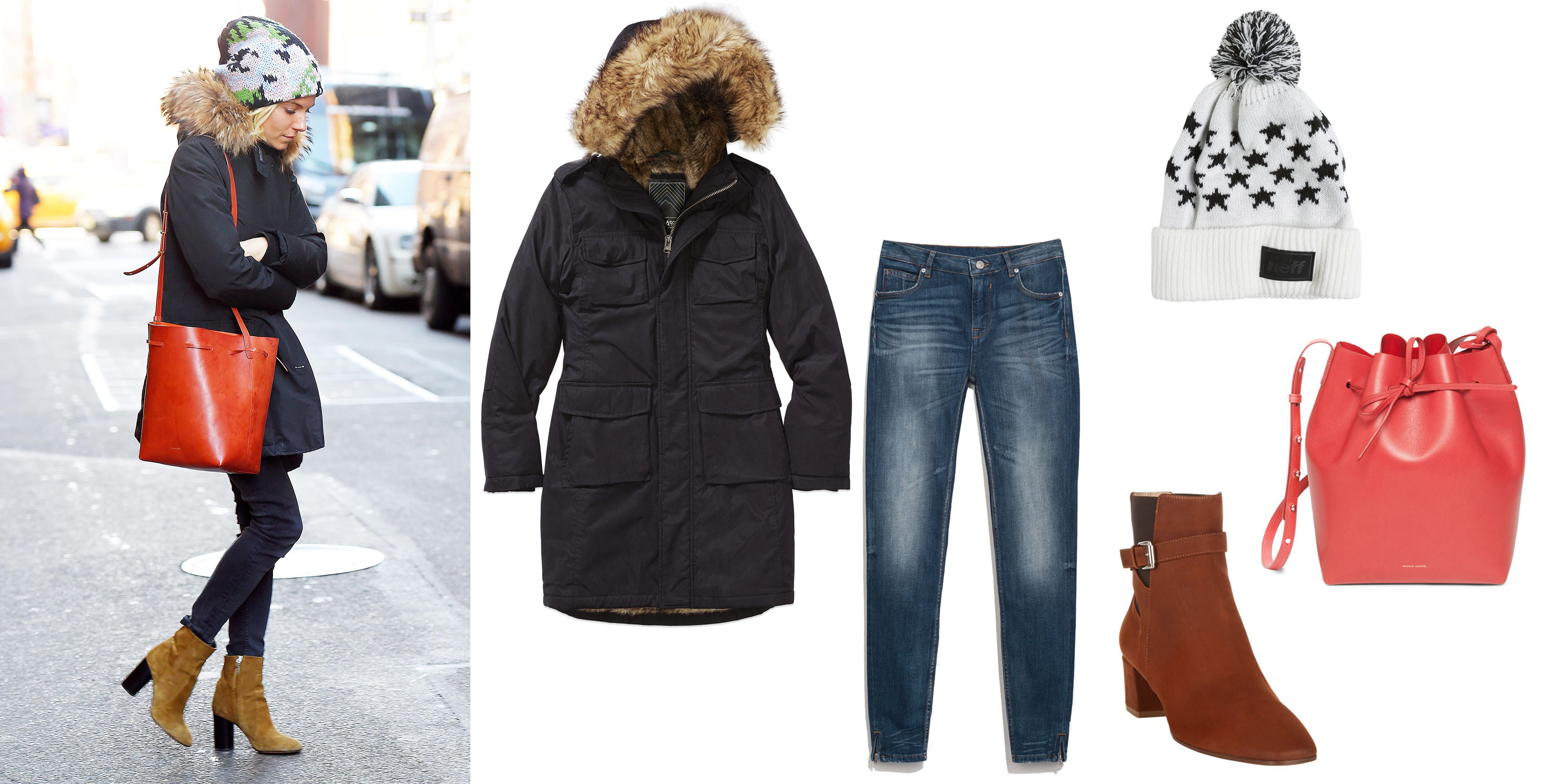 """TNA Blackcomb Parka, $225; <a href=""""http://us.aritzia.com/product/blackcomb-parka/52409.html?dwvar_52409_color=1274#start=3"""">aritzia.com</a>  Mansur Gavriel Calf Coated Bucket Bag, $695; <a href=""""http://www.mansurgavriel.com/products/bucket-bag-calf-coated/flamma-flamma"""">mansurgavriel.com</a>  Gianvito Rossi Buckle-Strap Ankle Boots, $1,095; <a href=""""http://rstyle.me/n/vvczibc6jf"""">barneys.com</a>  Zara Skinny Jeans, $30; <a href=""""http://www.zara.com/us/en/sale/woman/jeans/skinny-jeans-c437611p2012503.html"""">zara.com</a>  Neff Starboard Pom Beanie, $19; <a href=""""http://rstyle.me/n/vvcz2bc6jf"""">swell.com</a>"""
