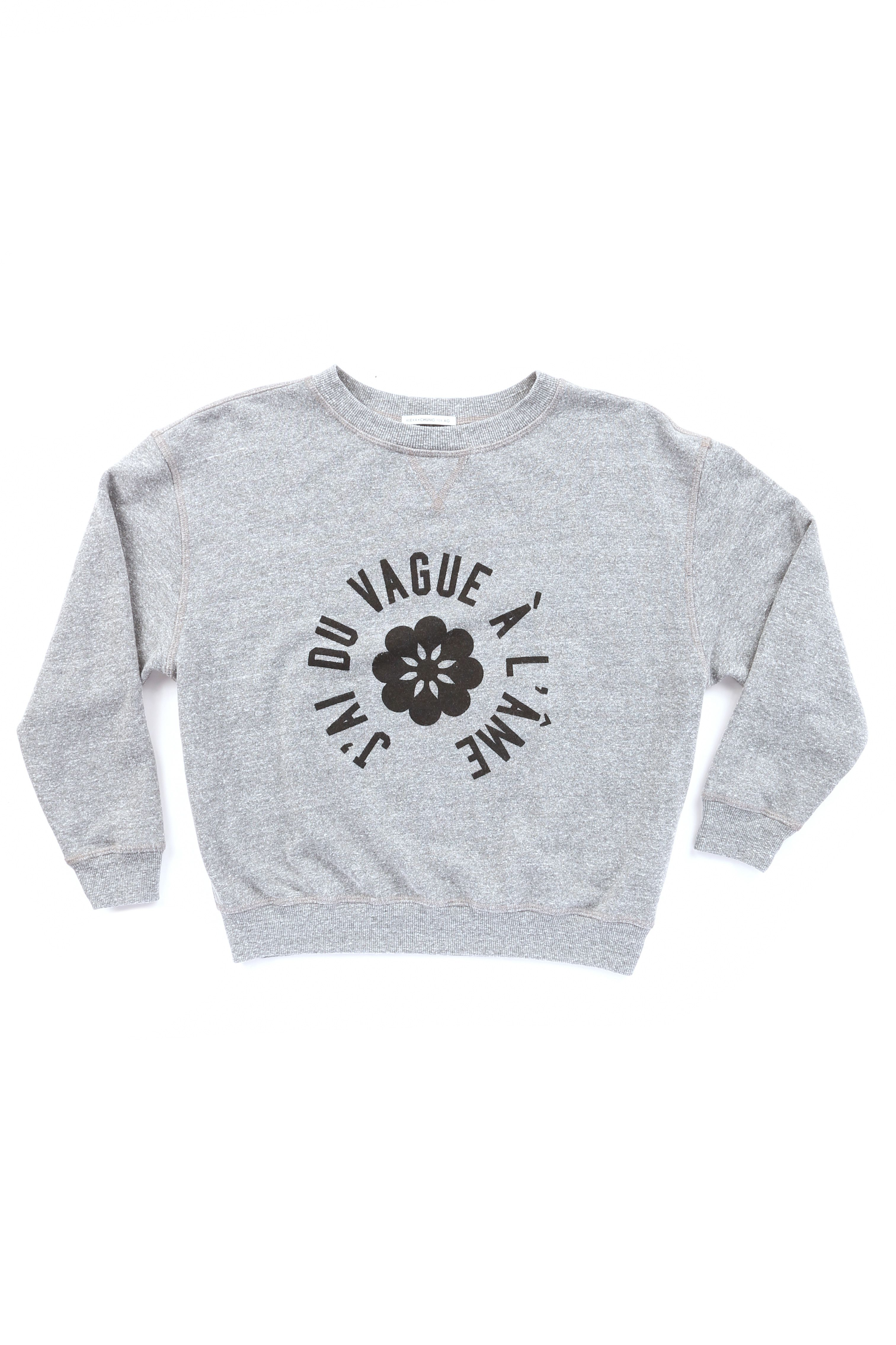 "Heather Grey The New Wave Sweatshirt, $240; <a href=""http://www.avenue32.com/us/designers/alexa-chung-x-ag/"" target=""_blank"">avenue32.com</a>"