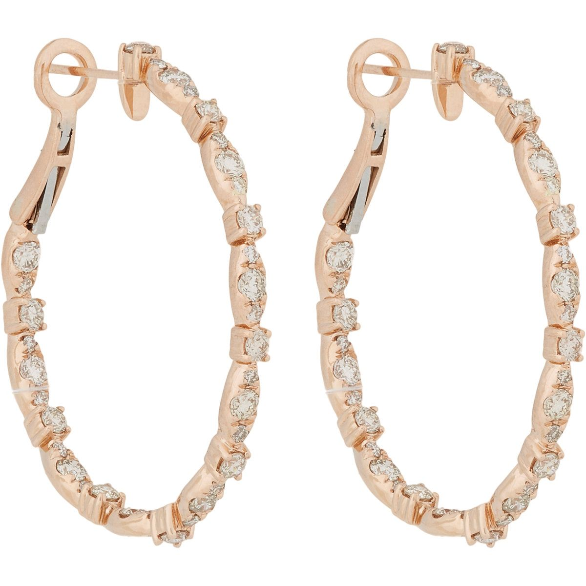 "Zoe Diamond & Rose Gold Hoops, $6,750; <a href=""http://www.barneys.com/on/demandware.store/Sites-BNY-Site/default/Product-Show?pid=00505034001158&cgid=womens-earrings&index=16"">barneys.com</a>"