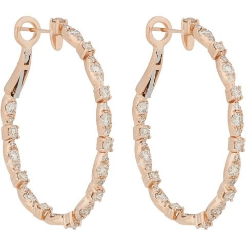 "Zoe Diamond &amp; Rose Gold Hoops, $6,750; <a href=""http://www.barneys.com/on/demandware.store/Sites-BNY-Site/default/Product-Show?pid=00505034001158&amp;cgid=womens-earrings&amp;index=16"">barneys.com</a>"