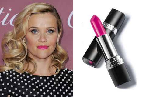"Rosy cheeks are the perfect complement to&nbsp;Reese Witherspoon's bright lips and even brighter personality.  Avon Ultra Color Bold Lipstick in Fearless Fuchsia, $8;&nbsp;<a href=""https://www.avon.com/product/52039/ultra-color-bold-lipstick"">avon.com</a>"