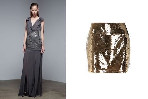 "<p>Donna Karan has come up with a great new layering trick that&nbsp;maximizes the way you can&nbsp;wear both your skirts&nbsp;and dresses. Using a mini skirt as a waist cincher on a column gown is genius because it adds a bit of texture and breaks up the monotony of a long dress.&nbsp;</p> <p>River Island Gold Tone Sequin Mini Tube Skirt, $50; <a href=""http://rstyle.me/n/v5k72bc6jf "">riverisland.com&nbsp;</a></p> <p><!--EndFragment--></p>"