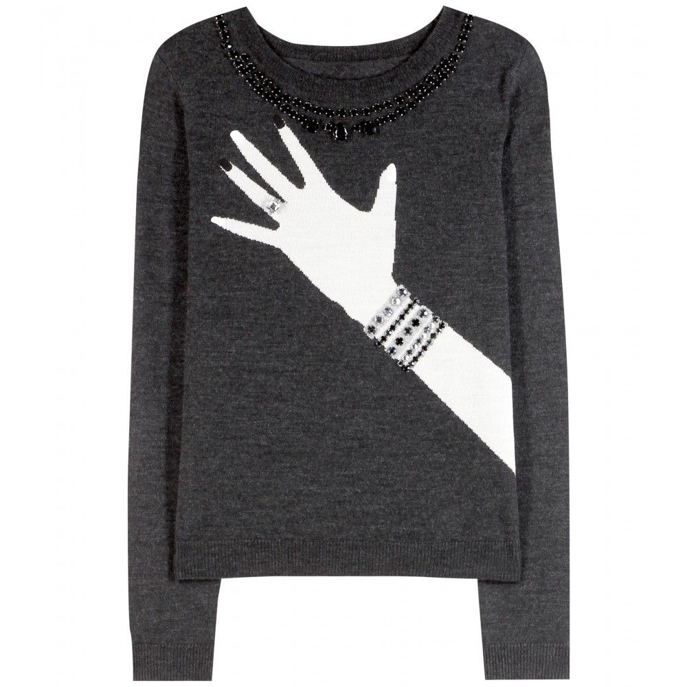 "Alice and Olivia Hand with Ring Wool Sweater $257; <a href=""http://www.mytheresa.com/en-us/hand-with-ring-wool-sweater.html"">mytheresa.com</a>"