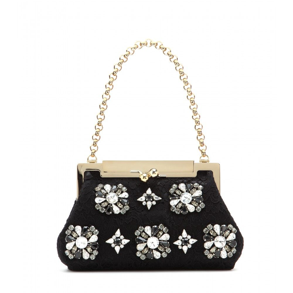 """Dolce & Gabbana Sara Crystal-embellished Lace Shoulder Bag, $2,995;<a href=""""http://www.mytheresa.com/en-us/sara-crystal-embellished-lace-shoulder-bag.html""""> mytheresa.com</a>"""